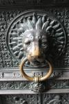 Lion as doorknob of the main door of Cologne Cathedral