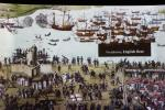 This painting shows the Battle of Solent in 1545 between English and French fleets. The flagship of King Henry VIII, the Mary Rose, sank during that fight close to Portsmouth (can be seen a bit left from the middle of the painting).