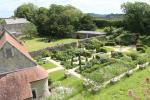 View from the wall down the rose garden and chapel