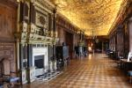 Long Gallery with gilded wooden ceiling in Hatfield House