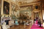 Second State Room in the enfilade of rooms west of the dining hall of Blenheim Palace. The tapestries commemorate the siege of Bouchain and the victory of the 1st Duke of Marlborough. A portrait of the Dike's adversary, Sun King Louis XIV hangs above the fireplace.