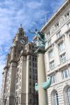Zwei der drei Grazien am Pier Head: Royal Liver Gebäude und das Cunard Gebäude