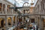 West Court hall of Kelvingrove Museum with a Spitfire LA198 hanging above an elephant, a giraffe, etc.