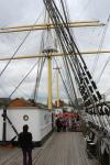 Das Tall-Ship ankert neben dem Riverside Museum in Glasgow