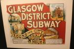 Old advertisement of the Glasgow District Subway. The cart was pulled by a wire.