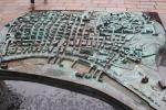 Kupfernes Übersichtsmodell der alten Innenstadt von Glasgow