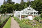 Victorian glasshouses and the conservatory in the gardens of Balmoral Castle