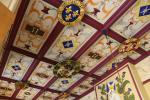 Colorful wooden ceiling with various coat of arms in the royal apartments of Stirling Castle