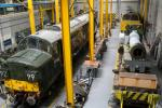 National Railway Museum (NRM): Maintenance area where trains and locomotives are repaired.