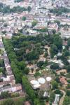 View from a helicopter over Frankfurt: Frankfurt Zoo in the middle of the city district Ostend.