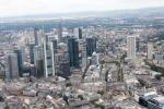 View from a helicopter over Frankfurt: Downtown skyline.