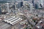 View from a helicopter over Frankfurt: Frankfurt main train station and the area around Kaiserstraße in the so called Bahnhofsviertel.