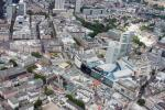 View from a helicopter over Frankfurt: MyZeil shopping center and Hauptwache along the Zeil high street.
