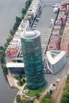 View from a helicopter over Frankfurt: Westhafentower and West Harbor Frankfurt.