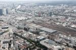 View from a helicopter over Frankfurt: Frankfurt main train station and its huge track field surrounding by office buildings.