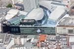 View from a helicopter over Frankfurt: MyZeil shopping center.