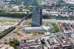 View from a helicopter over Frankfurt: European Central Bank (ECB).