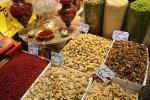 All kinds of nuts and dried fruits sold in Tehran Bazaar