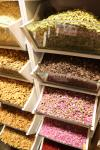 All kinds of nuts and dried flowers in Tehran Bazaar