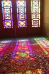 Colorful windows in the praying room of Nasir al-Molk Mosque