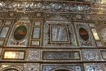 Inside the Building of the Windcatchers in the Golestan Palace: The walls and the ceiling are covered with small mirrors.