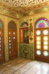 Inside the Building of the Windcatchers in the Golestan Palace: Painted walls in one of the smaller rooms.