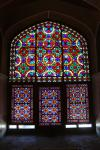 Dowlat Abad Garden: Colorful windows of the reception hall.