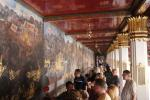 The entire complex, including the temples, is bounded by a compound wall which is one of the most prominent part of the wat is about 2 kilometres (6,600 ft) length. The compound walls are decorated with typically Thai murals, based on the Indian epic Ramayana.